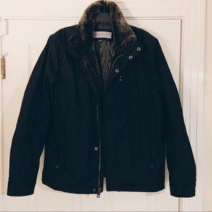 Andrew Marc Black faux fur coat